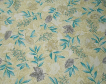 Yellow Flannel Fabric, Cotton Flannel Fabric, Yellow and Aqua Leaf Flannel Fabric, Flannel Scraps Over 2 Yards