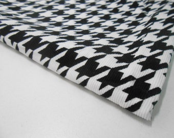 Black and White Hounds Tooth Corduroy Fabric, Black and White Corduroy Fabric