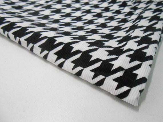 Black and White Hounds Tooth Corduroy Fabric Black and White