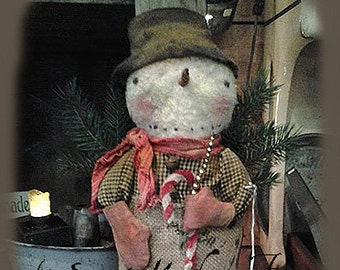 Primitive epattern Snowman Doll in Stocking Christmas
