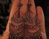"""ON SALE Vintage Sterling Silver Crescent Moon Earrings Bali Boho Chandelier 3.5"""" Long"""