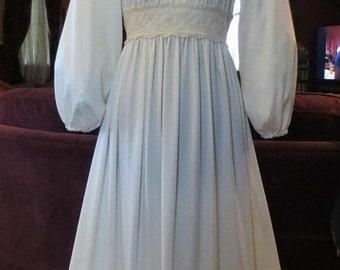 ON SALE Vintage 1970's Ivory Lace Dress Renaissance Spring Peasant Wedding Gown