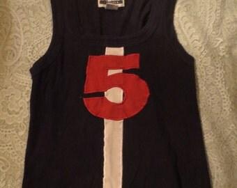 Vintage Black #5 Tank Top Cheerleader Roller Derby Costume S/M