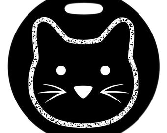 Luggage Tag - Chalkboard Kitty - Round Fiberglass Reinforced Plastic Bag Tag