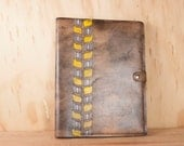 Large Leather Sketchbook - Roger pattern with modern vines - Yellow, gray and antique brown - refillable leather journal