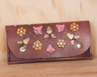 Leather Wristlet Wallet - Womens Large Wallet with Wrist Strap - Meadow pattern with bees and honeycomb - Fits iPhone 6+