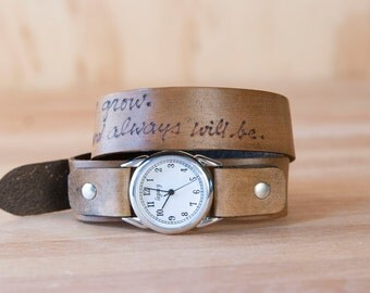Leather Wrap Watch - Personalized Smokey Pattern - Antique Brown