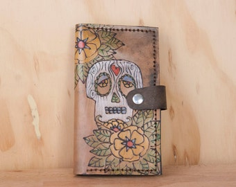 iPhone 6 Wallet -  Leather iPhone 6 Plus Case in the Walden pattern with sugar skull - iPhone 5 6 or 6+