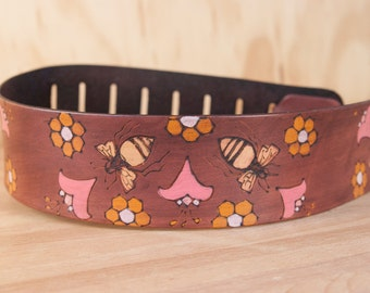 Guitar Strap - Leather in the Meadow pattern with Flowers and Bees - Handmade Guitar Strap for Acoustic or Electric Guitars