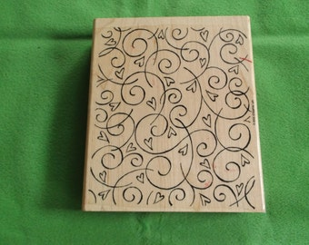 Large Soft Swirls 2002 Stampin Up Rubber Stamp
