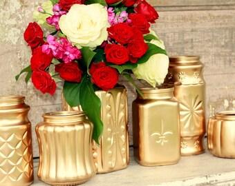 Bronze gold vase, gold centerpiece, Set of 6 bronze gold vintage textured jars, gold wedding decor, fall wedding decor, tall vase, large