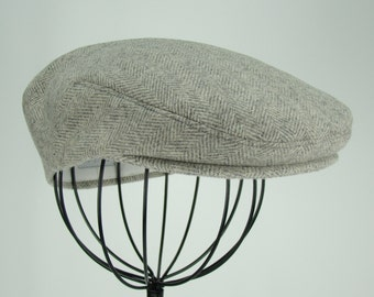 Men's Hat - Grey Wool Tweed Herringbone Golf Cap, Flat Jeff Cap, Ivy Cap, Driving Cap for Boys, Toddler, & Baby Too