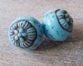 RESERVED FOR MRN Vintage Czech Gablonz 1920's-30's Egyptian Revival  Molded Glass Beads - ? Neiger - 12mm - Pair