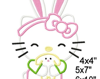 Easter KlTTY Cat Machine Embroidery Applique Design Pattern 5x7 6x10 7x11 INSTANT DOWNLOAD
