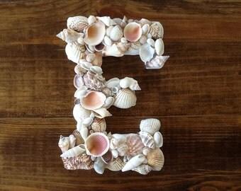 Large White Wood Seashell Letters - Custom Coastal Shell Beach Home Decor