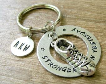 Stronger Than Yesterday Keychain, Runner's Keychain, Running Keychain, Track Keychain, Motivational Keychain, Goals Keychain