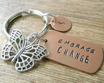 Butterfly Keychain, Embrace Change, inspirational, motivation, transformation, encouragement, sobriety, recovery, turn over a new leaf