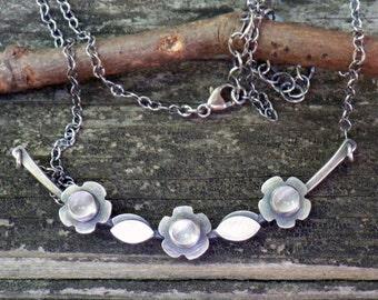 Natural moonstone sterling silver flower necklace