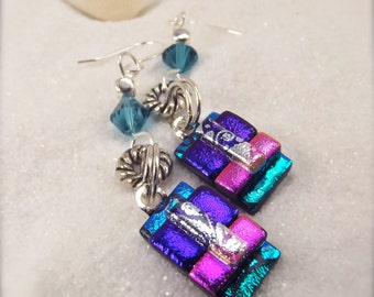 Dichroic glass earrings, fused glass jewelry, Hana Sakura, turquoise earrings, statement earrings, glass fusion, handmade, gifts for her