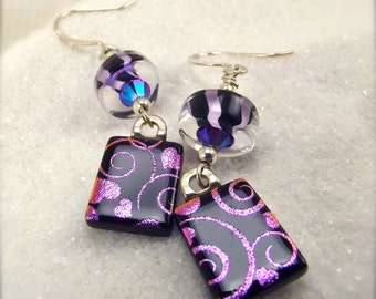 Heart glass earrings, Fused dichroic earrings, fused glass jewelry, dichroic earrings, statement earrings,Hana Sakura, Art deco jewelry