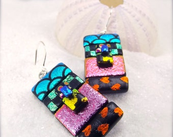 Dichroic glass earrings, Rainbow jewelry, Dichroic earrings, statement earrings, striped earrings, women's jewelry, trending, glass fusion