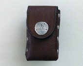 Brown Leather Cigarette Case with Sand Dollar Concho