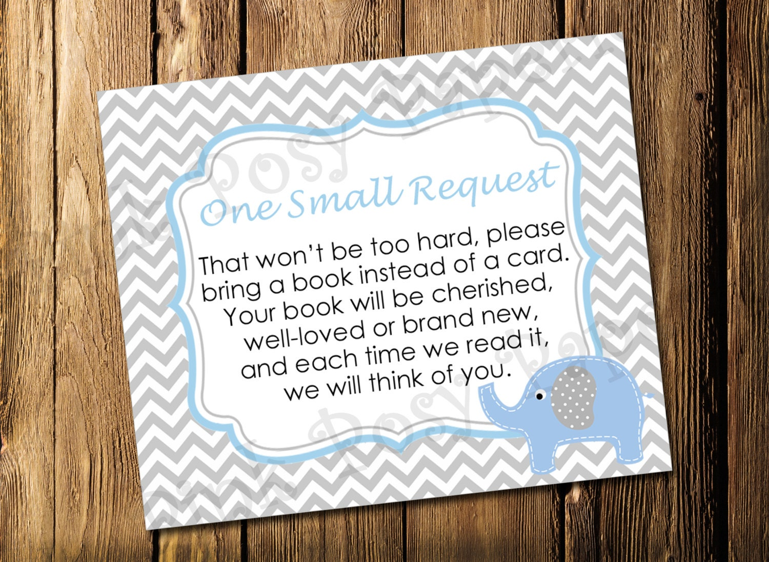 printable blue elephant boy baby shower book request cards