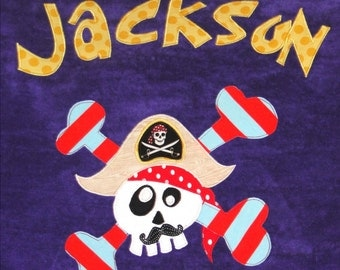 Personalized Large Purple Velour Beach Towel with Pirate with Mustache and Crossbones,Kids Bath Towel,Kids Pool Towel,Camp Towel,Beach Gift