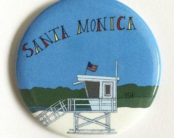 Santa Monica Los Angeles Southern California Beach Themed Magnet
