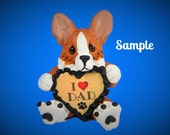 Red and white Pembroke Welsh Corgi Dog Father's Day Sculpture love DAD OOAK Clay art by Sally's Bits of Clay