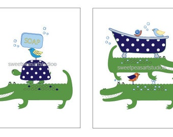 Alligator Art for Kids  Bathroom Decor, Alligator Print, Toothbrush brush Art, Wash Art, Bath wall decor