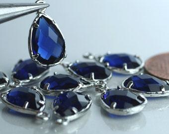 Promotion SALE 20% off Framed blue sapphire glass drop charm connector, earring componenet, necklace pendant, 2 pcs (item ID G43N10SP)