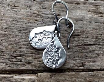 Petite mandala drops earrings.  Handmade sterling silver, small drop earrings.