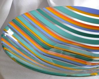 Handmade Glass Bowl, Fused Glass Bowl, Striped Bowl, Glass Bowl, Celebration, Party, Wedding Gift, CGGE, Nivenglass