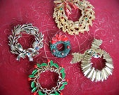 Vintage Brooch, Christmas Wreaths, Lot of 5, - Fantastic Supplies for Holiday Projects, EandO
