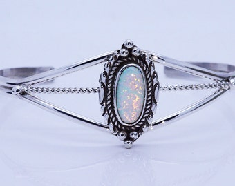 Stunning Sterling Silver 925 Inlaid Large White Fire Opal cuff bracelet adjustable