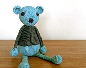 Blue Teddy Bear, Green Teddy Bear, Handmade Crochet Teddy Bear, Baby Gift, Baby Shower Gift, Newborn Gift, Knitted Bear, Unisex Baby Gift