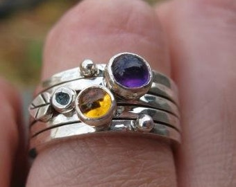 set of 5 sterling silver stacking rings . ((Spring Posey Skinny Ring Stack)) . citrine and amethyst . READY TO SHIP in sz 8
