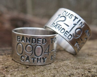 XLARGE Personalized Sterling Silver Goose Band Ring . Duck Band Ring . for the avid hunters . stamped names & dates . sz 13.25-16