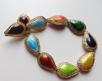 18mm Vintage Gold & Enamel Teardrop Beads