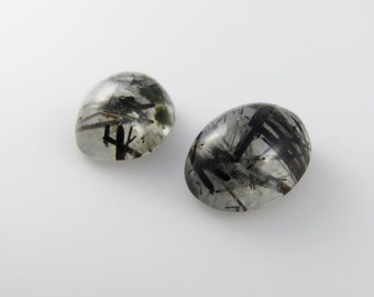 Tourmalated Quartz - Pair of Oval Cabochons, 18.90 cts - 15x12