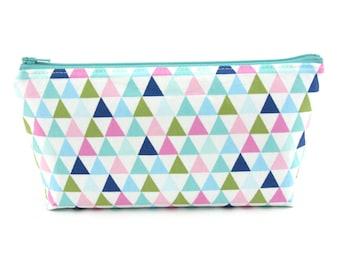 Mint Triangles Cosmetic Bag, Zip Pouch, Makeup Bag, Pencil Case, Zipper