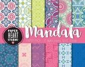 Instant Download - Digital Papers- Mandala Boho Spring Paper Pack (17)