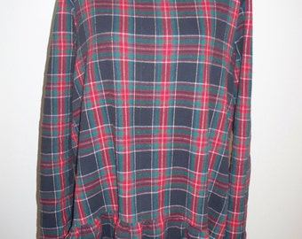 boho flannel tartan  plaid  pullover top tunic dress with ruffle long sleeve empire waist gathered Large