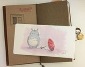 Watercolor Illustration Laminated Shitajiki Pencil Totoro & A Red Umbrella for Travelers Notebook