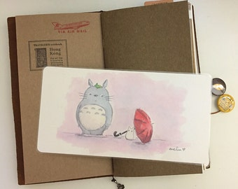 Totoro & A Red Umbrella Watercolor Illustration Laminated Shitajiki Pencil Board for Travelers Notebook