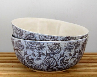 Handmade Ceramic  Bowl - Chambray Rose - 16 ounce -  Ready to Ship - Hand Thrown Stoneware Pottery