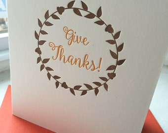 Give Thanks Wreath Thanksgiving Holiday Seasonal Letterpress Card Set of 6