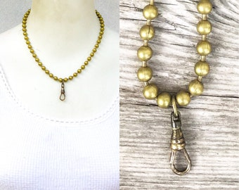 short Lanyard. Old gold brass. Chunky ball chain. Adjustable 16-18in. Collar necklace. Choker charm holder. Ring keeper. Zz