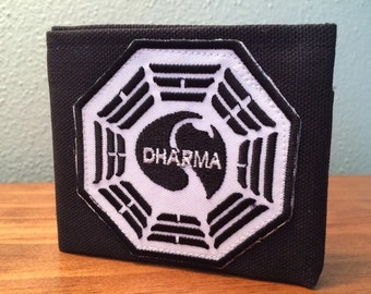 "Dharma from ""Lost"" handmade black canvas lightweight sturdy wallet"